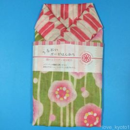 F/S 2 Layer Gauze Cloth Handkerchief Plum Blossom Yellow Green made in Japan