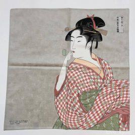 Japanese Furoshiki Wrapping Cloth Utamaro Blowing Popen Beautiful Lady Kyoto