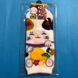 Socks Japanese Fortune Cat Cute Kawaii 23cm – 26cm 9.1″ – 10.2″ Kyoto Japan