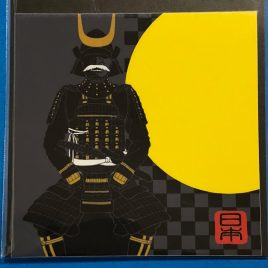F/S Beautiful Japan Sticker Japanese Armor Samurai Bushi Moon 2.95 inch Kyoto