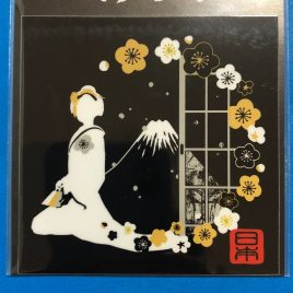F/S Beautiful Japan Sticker Japanese Beautiful Maiko Girl and Mt. Fuji 2.95inch