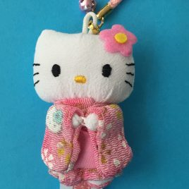 F/S Hello Kitty Cute Key Chain Strap Kimono Pink Kawaii Accessory from Kyoto