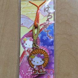 Hello Kitty Key Chain Strap Kimono and Orange Umbrella Ltd. in Kyoto Japan