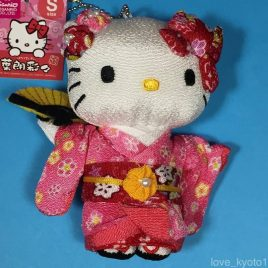 Hello Kitty Chirimen Kimono Crepe Fabric Plush Cute Kawaii Pink from Kyoto