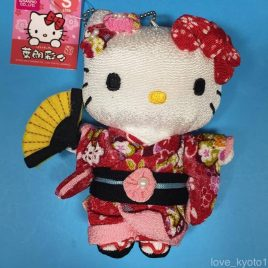Hello Kitty Chirimen Kimono Crepe Fabric Plush Cute Kawaii Red from Kyoto