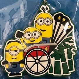 F/S Minions Kyoto Limited Jinrikisha Rubber Key Holder from Kyoto Japan