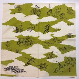 F/S Japanese Furoshiki Wrapping Cloth Choju Giga Oldest Catoon Drolleries Green