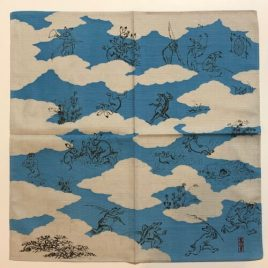 Japanese Furoshiki Wrapping Cloth Choju Giga Oldest Catoon Drolleries Blue