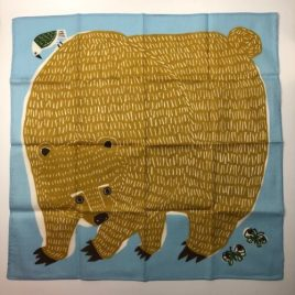 Japanese Furoshiki Wrapping Cloth Bear Bird Butterfly Cotton 100% Blue
