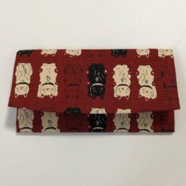 F/S Japanese Wallet Maneki Neko Money Fortune Cat Cute Kawaii Dark Red Kyoto