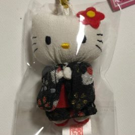 F/S Hello Kitty Cute Key Chain Strap Kimono Black Kawaii Accessory from Kyoto