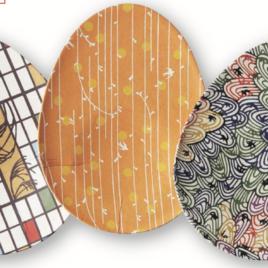 F/S Handicraft Ellipse Shape Paper Tray Yuzen Dyeing Paper Kyoto Suzuki Shofudo