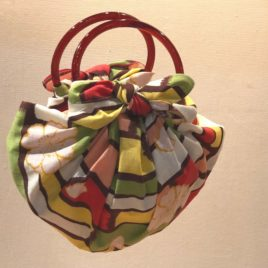 F/S Two Brown Rings for Strawberry Bag using Japanese Furoshiki Wrapping Cloth