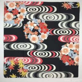Japanese Furoshiki Wrapping Cloth Water Stream Black 47cm Kyoto
