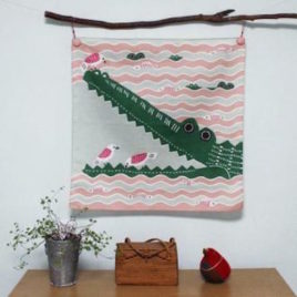 Japanese Furoshiki Crocodile Wrapping Cloth Cotton 100% Pink from Kyoto