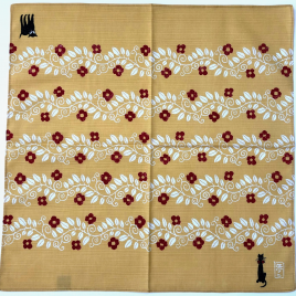 F/S Japanese Furoshiki Cat Yumeji Takehisa Wrapping Cloth Cotton 100% in Yellow