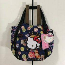 Hello Kitty Manufatto Japanese Kimono Oiran 2way Black Bag Kyoto Japan