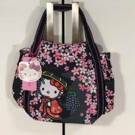 Hello Kitty Manufatto Japanese Kimono Cherry Blossom 2way Black Bag Kyoto