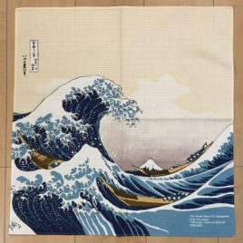 F/S Japanese Furoshiki Wrapping Cloth Hokusai Ukiyoe Great Wave Mt. Fuji Kyoto
