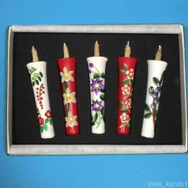 Temple Shrine 100% Handicraft Candle Hand Painted Flower 5pcs set from Kyoto