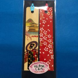 F/S Bamboo and Japanese Paper Bookmark Maiko Yuzen Dyeing Pattern Kyoto Japan
