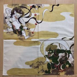 F/S Japanese Furoshiki Wrapping Cloth Fujin Raijin Wind and Thunder god Kyoto