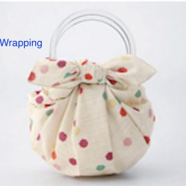 F/S Two Clear Rings for Strawberry Bag using Japanese Furoshiki Wrapping Cloth