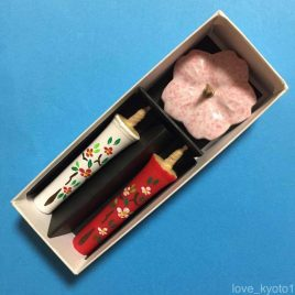 Temple Shrine Candle Hand Painted Camellia Flower 2pcs & Holder set Kyoto