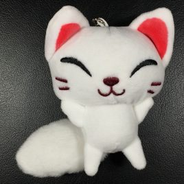 F/S Fushimi Inari Shrine Soft White Fox Doll Cute Kawaii with Chains from Kyoto