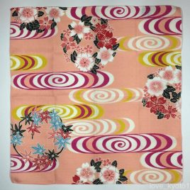 Japanese Furoshiki Wrapping Cloth Water Stream Pink 47cm Kyoto