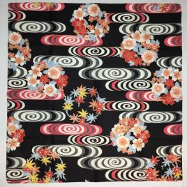 Japanese Furoshiki Wrapping Cloth Water Stream Black 70cm Kyoto
