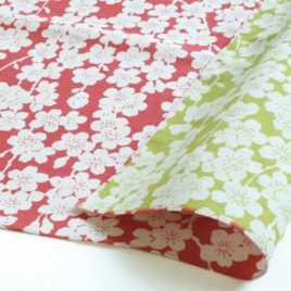 Japanese Furoshiki Cherry Double Side Wrapping Cloth Cotton 100% Pink Green