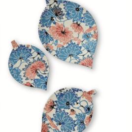 F/S Handicraft Leaf Paper Tray 3pcs Set Yuzen Dyeing Paper Kyoto Suzuki Shofudo
