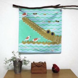 Japanese Furoshiki Crocodile Wrapping Cloth Cotton 100% Green from Kyoto