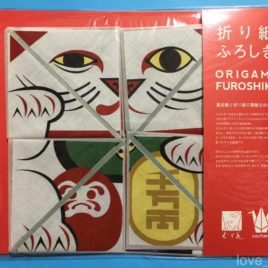 F/S Japanese Furoshiki Wrapping Cloth Origami Maneki Neko Lucky Fortune Cat 50cm