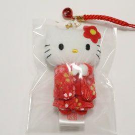 F/S Hello Kitty Cute Key Chain Strap Kimono Red Kawaii Accessory from Kyoto