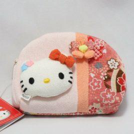 F/S Hello Kitty Cute Kawaii Compact Pouch Chirimen Crepe Kyoto Japan B