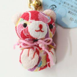 F/S Chirimen Kimono Crepe Fabric Bear Charm Key Strap Mascot Cute Kawaii Kyoto B