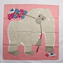 Japanese Furoshiki Wrapping Cloth Gorilla Bird Butterfly Cotton 100% Pink