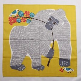 Japanese Furoshiki Wrapping Cloth Gorilla Bird Butterfly Cotton 100% Yellow