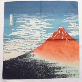 Japanese Furoshiki Wrapping Cloth Hokusai Ukiyoe Red Mt. Fuji Aka Fuji  Kyoto