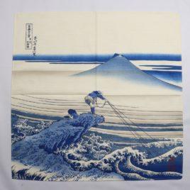 Japanese Furoshiki Wrapping Cloth Hokusai Ukiyoe Mt. Fuji Koshu Kajikazawa Kyoto