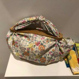 Japanese Furoshiki Wrapping Cloth Mini Bouquet Cotton 100% Gray Flower 45cm
