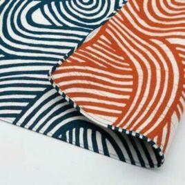 Japanese Furoshiki Double Side Wrapping Cloth Indigo Blue and Orange Kyoto