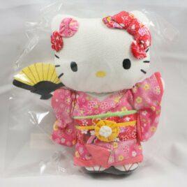 Hello Kitty Chirimen Kimono Crepe Fabric Plush Cute Kawaii Pink M from Kyoto