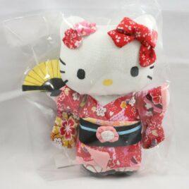 Hello Kitty Chirimen Kimono Crepe Fabric Plush Cute Kawaii Red M from Kyoto