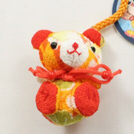 Chirimen Kimono Crepe Fabric Bear Charm Key Strap Mascot Cute Kawaii Kyoto B