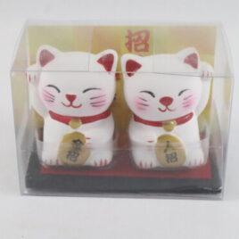 A pair of Maneki Neko Lucky Money Fortune Cats Unglazed Pottery Ornament