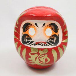 Beautiful Handicraft Japanese Daruma Red-painted Good-luck doll H 11cm 4.33″